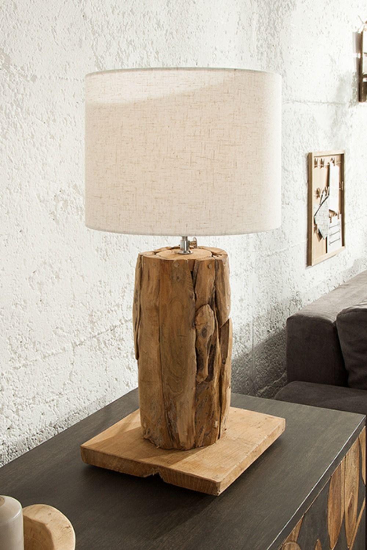 Hohenverstellbare Teakholz Tischlampe Roots 70cm Beige Treibholz Lampe Treibholz Lampe Tischlampen Aus Holz Stehlampe Treibholz