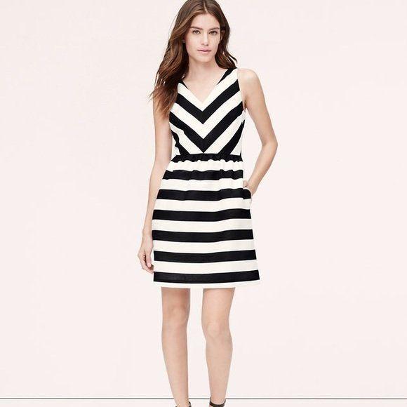 e57a881e5d81 $98 Ann Taylor Loft Black White Striped Vneck Fit & Flare Dress A783 # AnnTaylorLOFT #FitFlare #Cocktail