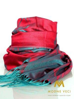 Dámska pašmínová šatka červeno-modrá P54