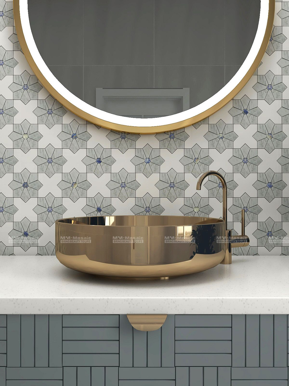Bathroom Walls Project Dreaming of a funny bathroom walls decor? This unique wall renovation bring in a star-cross pattern and chic style.  #marblemosaic #waterjetmosaic #renovation #interiors #interiordesire #interiorforinspo #interiordesign #interiorinspiration  #renovationproject #homedecorideas #homedecor #homeimprovement #homedesign #homerenovation #newbuild #bathroomdecor #bathroomdesign #bathroomideas #bathroominspo #bathroomrenovation #granddesigns #walltiles #walldecor #starcross