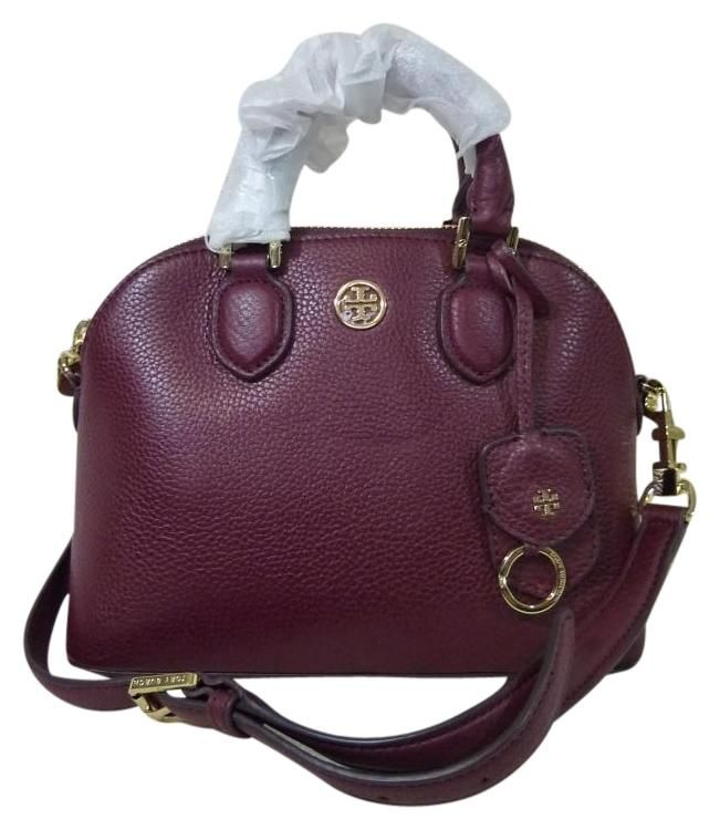 a2174f71fac1 Tory Burch Leather Mini Robinson Dome Burgundy Cross Body Bag. Get the  trendiest Cross Body Bag of the season! The Tory Burch Leather Mini  Robinson Dome ...