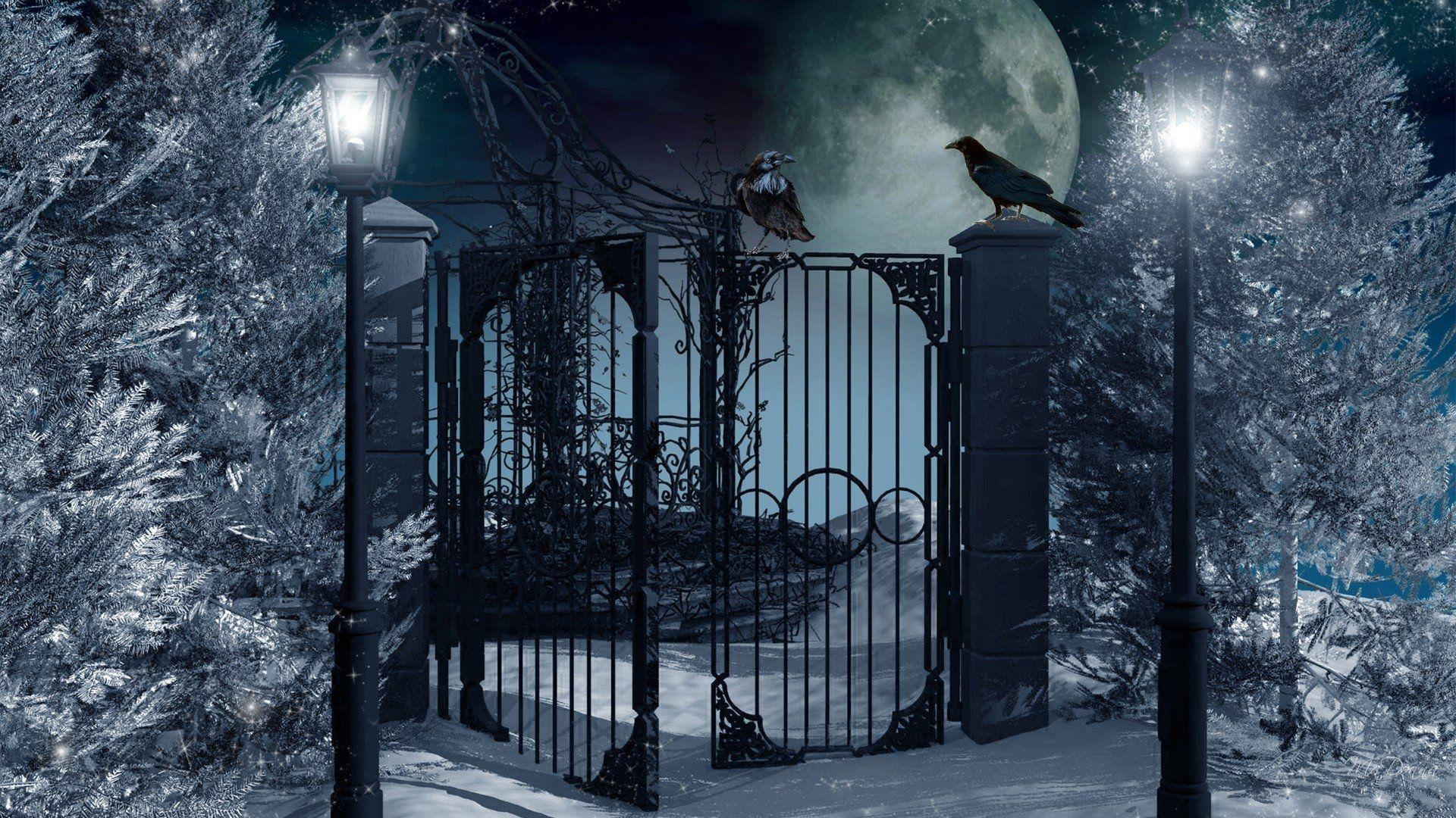 Artistisk Winter Fantasy Manen Lantern Snow Tree Gate Bakgrund Wallpaper Pictures Background Hd Wallpaper
