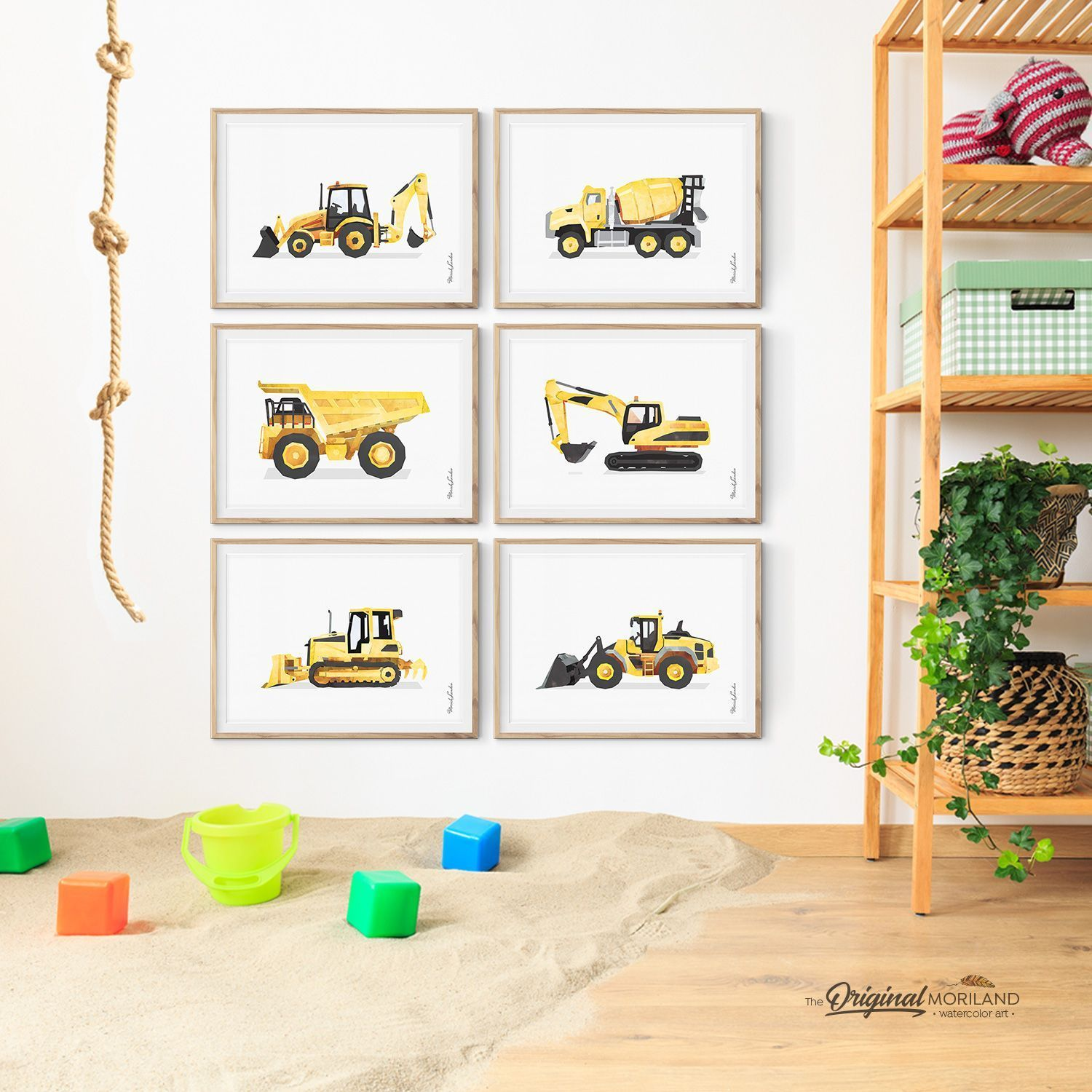 Digger Print, Construction Art Print, Toddler Boys Room Decor, Truck