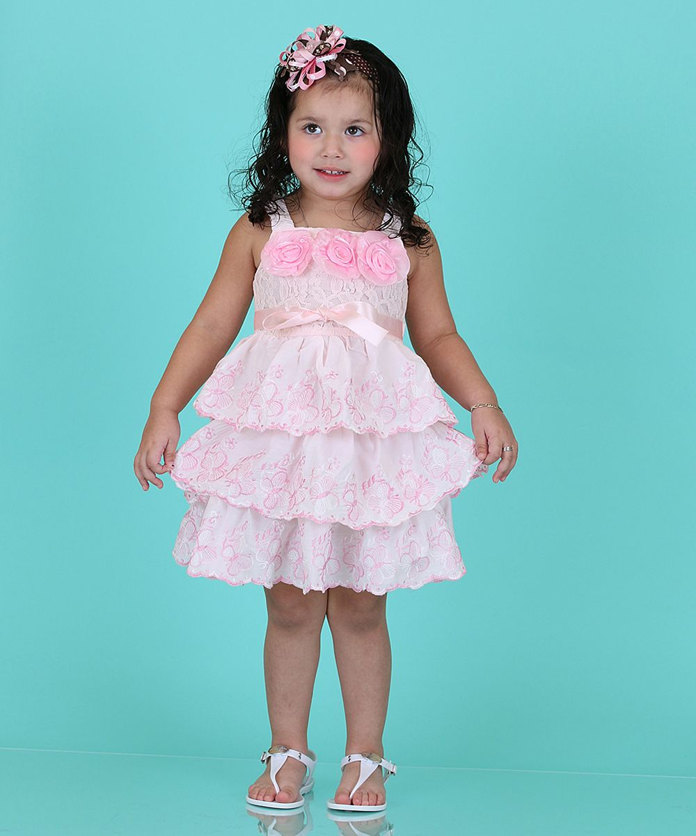 Pink Rosette Ribbon Tiered Party Dress - Girls | Products ...