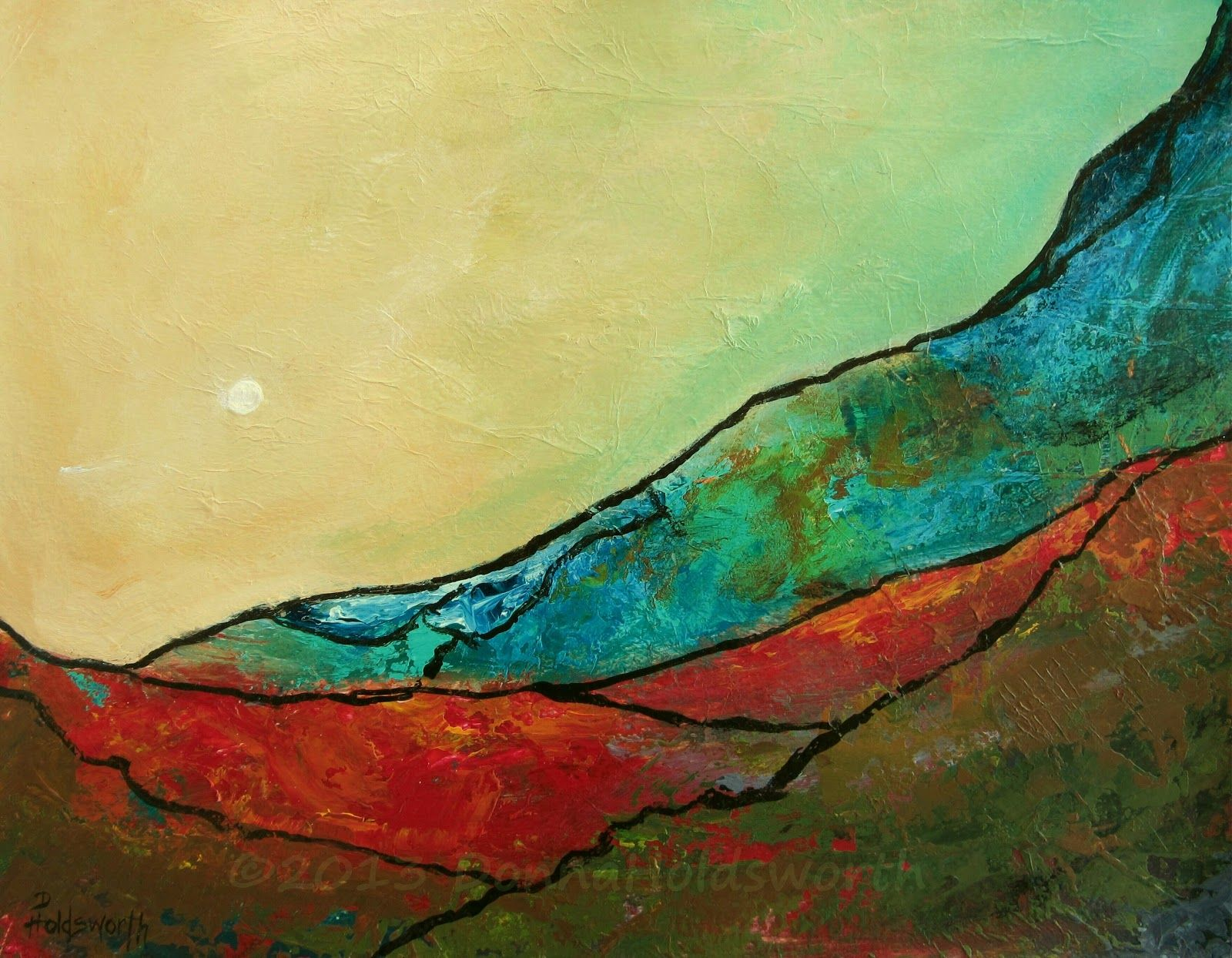 Daily Painters Abstract Gallery Red River Valley Landscape Painting By Donna Holdsworth