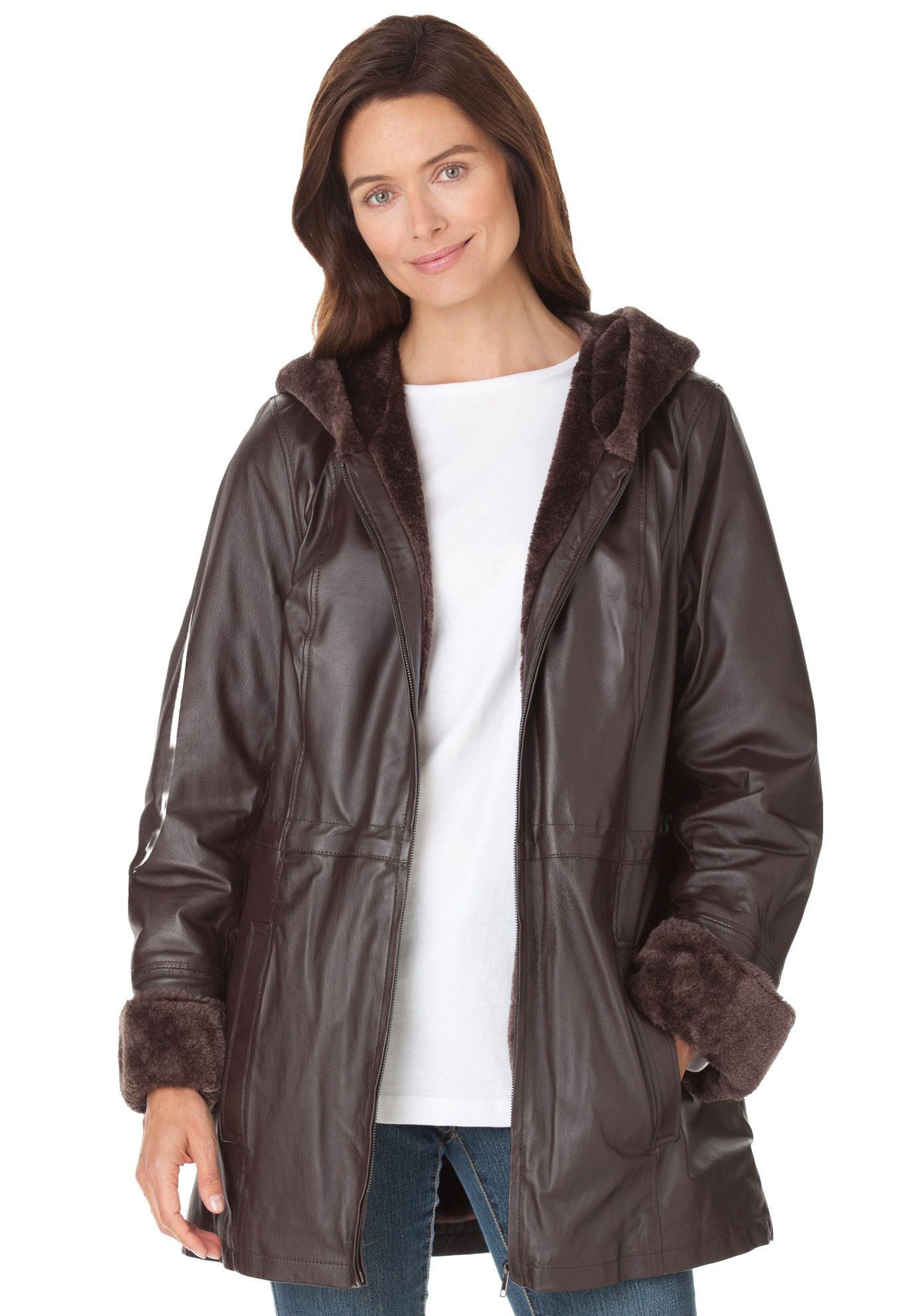Our plus size leather hooded anorak jacket is perfect for