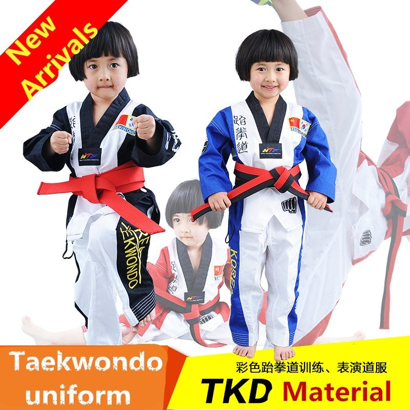(3 colors) Korea style Embroidered Breathable Child Kids Taekwondo dobok TKD  Uniform Tae Kwon
