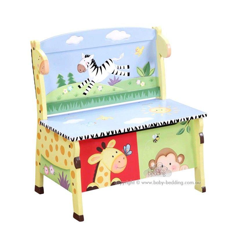 Kids Storage Bench Furniture Toy Box Bedroom Playroom: Teamson Sunny Safari Storage Bench For Jungle / Safari