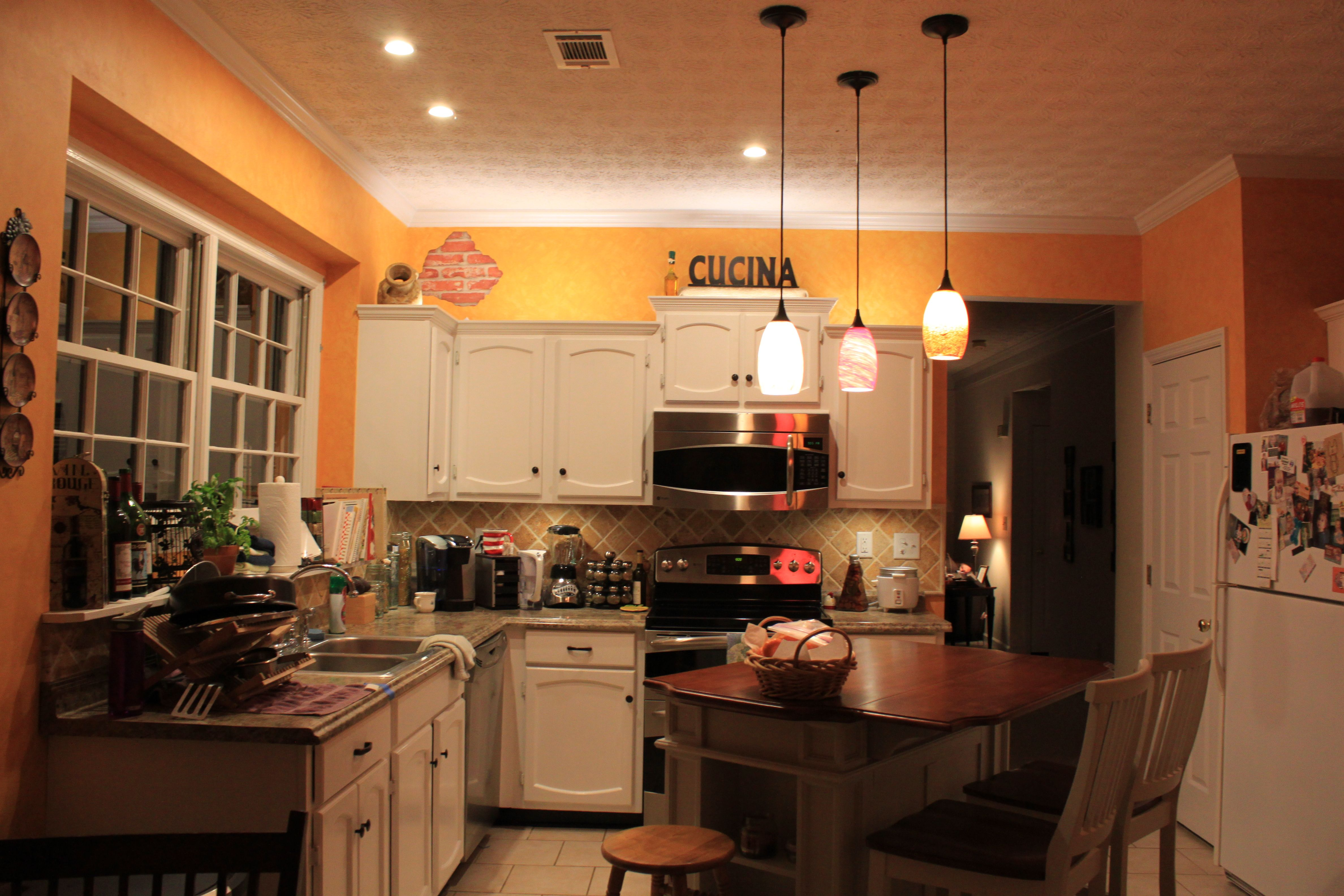 Tuscany Kitchen can lights and pendants (Lowe's), Island