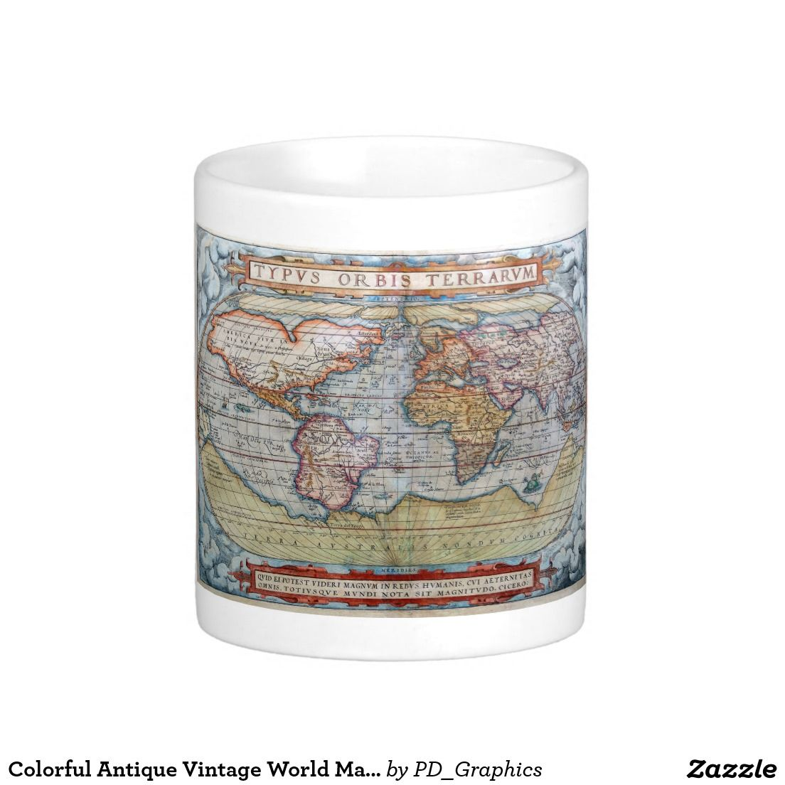 Colorful antique vintage world map ortelius classic white coffee mug colorful antique vintage world map ortelius classic white coffee mug gumiabroncs Image collections