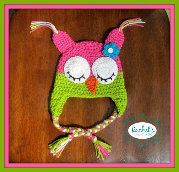 Girls Crochet Owl Hat    This hat is sure to turn heads, with bright modern colors and attention to detail, it is the perfect accessory to