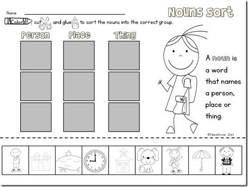 noun sort freebie 1st grade nouns kindergarten kindergarten language arts teaching. Black Bedroom Furniture Sets. Home Design Ideas