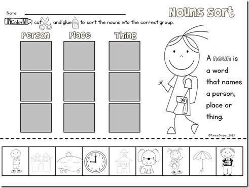 noun sort freebie 1st grade pinterest kindergarten language arts and language. Black Bedroom Furniture Sets. Home Design Ideas