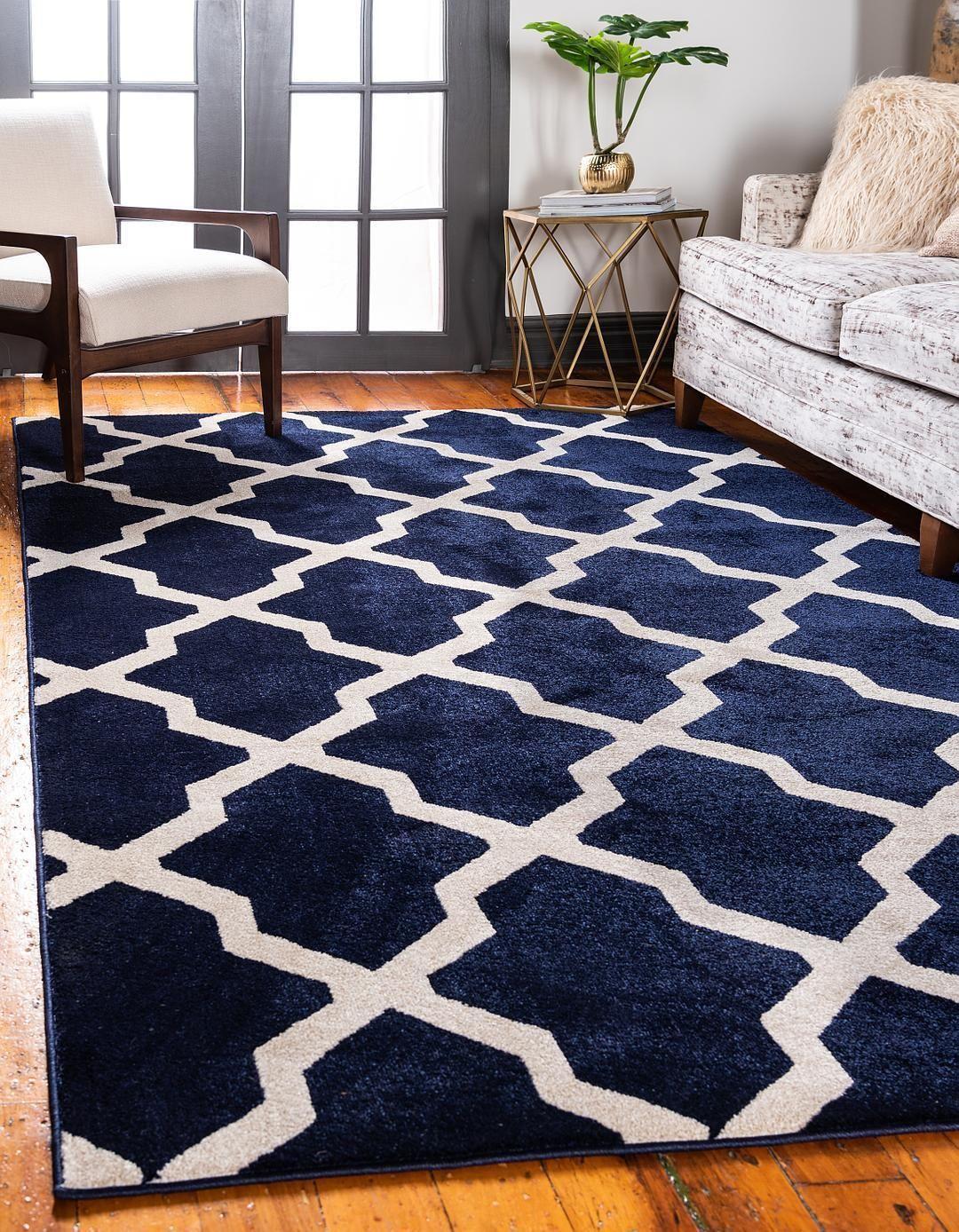 Navy Blue Unique Loom 7 X 10 Trellis Rug Area Rugs Rugs Com Blue Rugs Living Room Navy Rug Living Room Blue Rug Bedroom