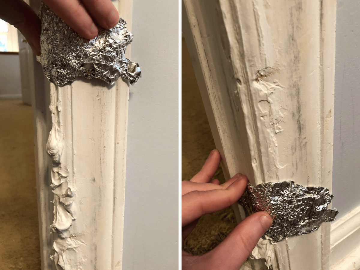 Repair A Damaged Door Frame With Tin Foil Door Frame Repair Base Moulding Door Frame Molding