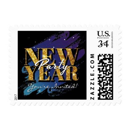 New Years Eve Party Modern Gold Glitter Postage