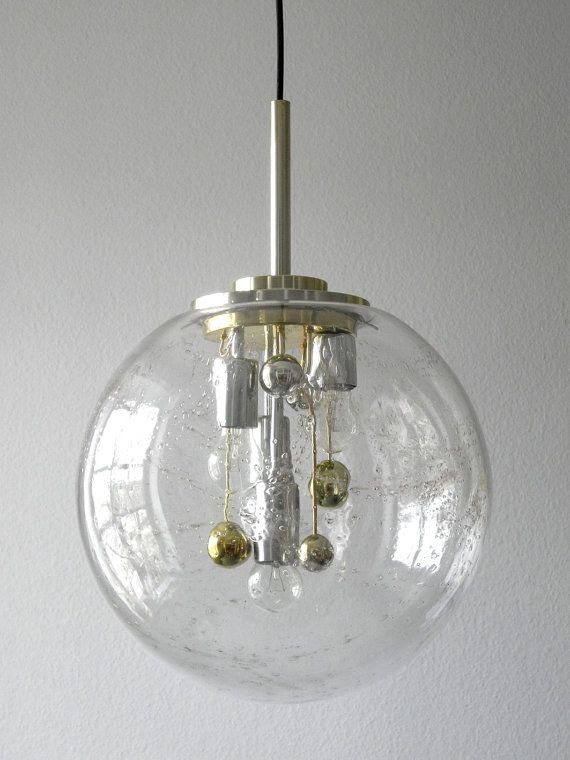 Rare Huge 60s Doria Huge Glass Globe Pendant Lamp With 4 Sockets