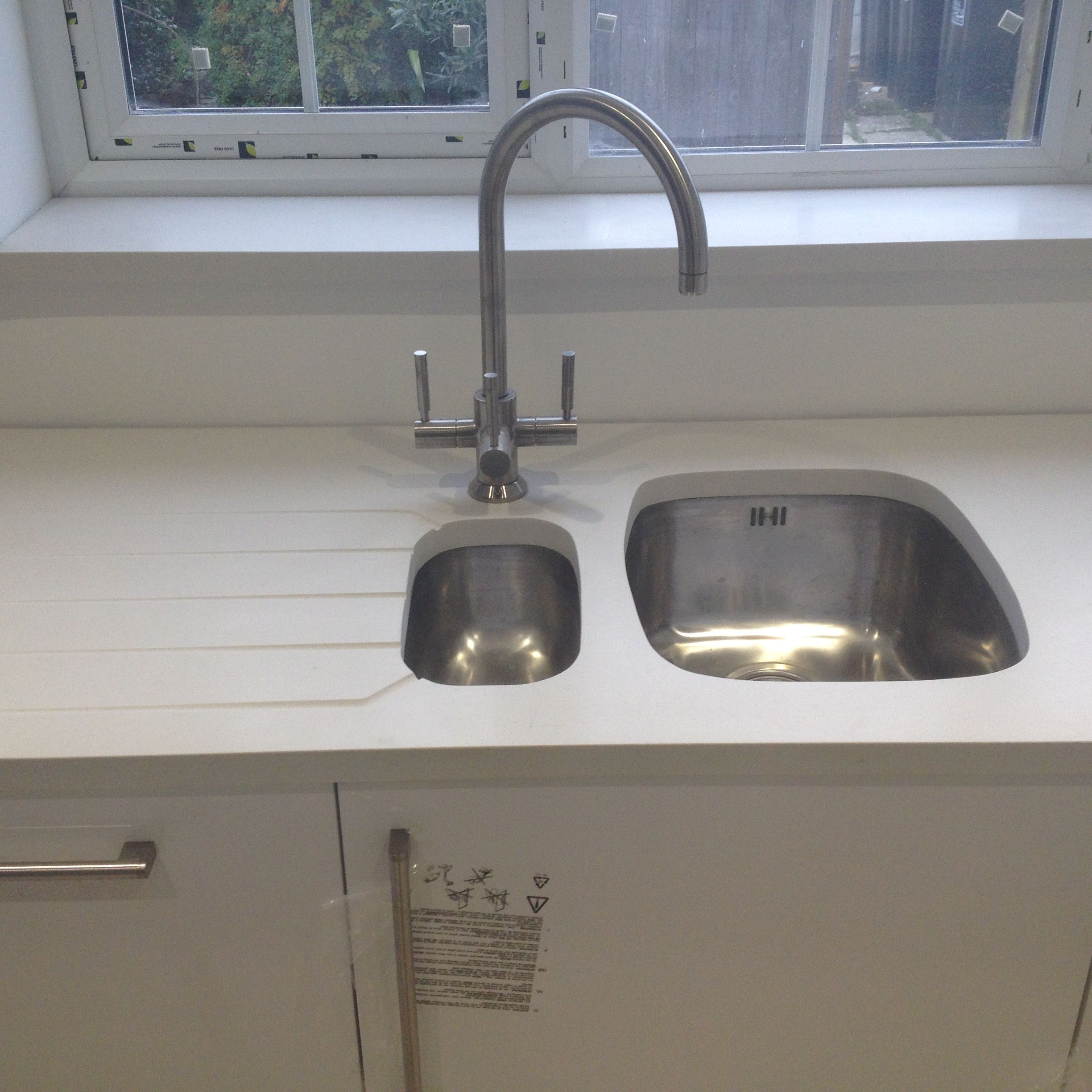 Under mount sink and drainer rebated in to composite worktop. | All ...