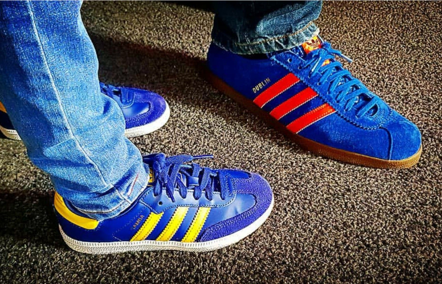 Vintage 1983 Yugoslavian made Adidas Dublin on feet on the