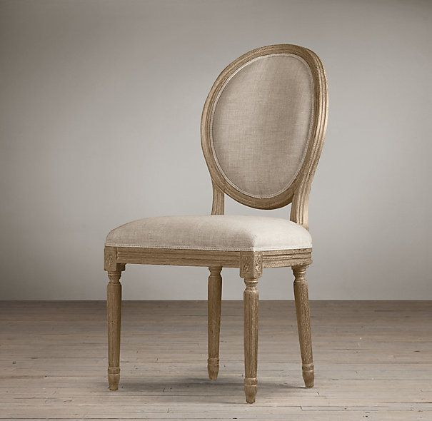 RH: Vintage French Round Upholstered Side Chair X