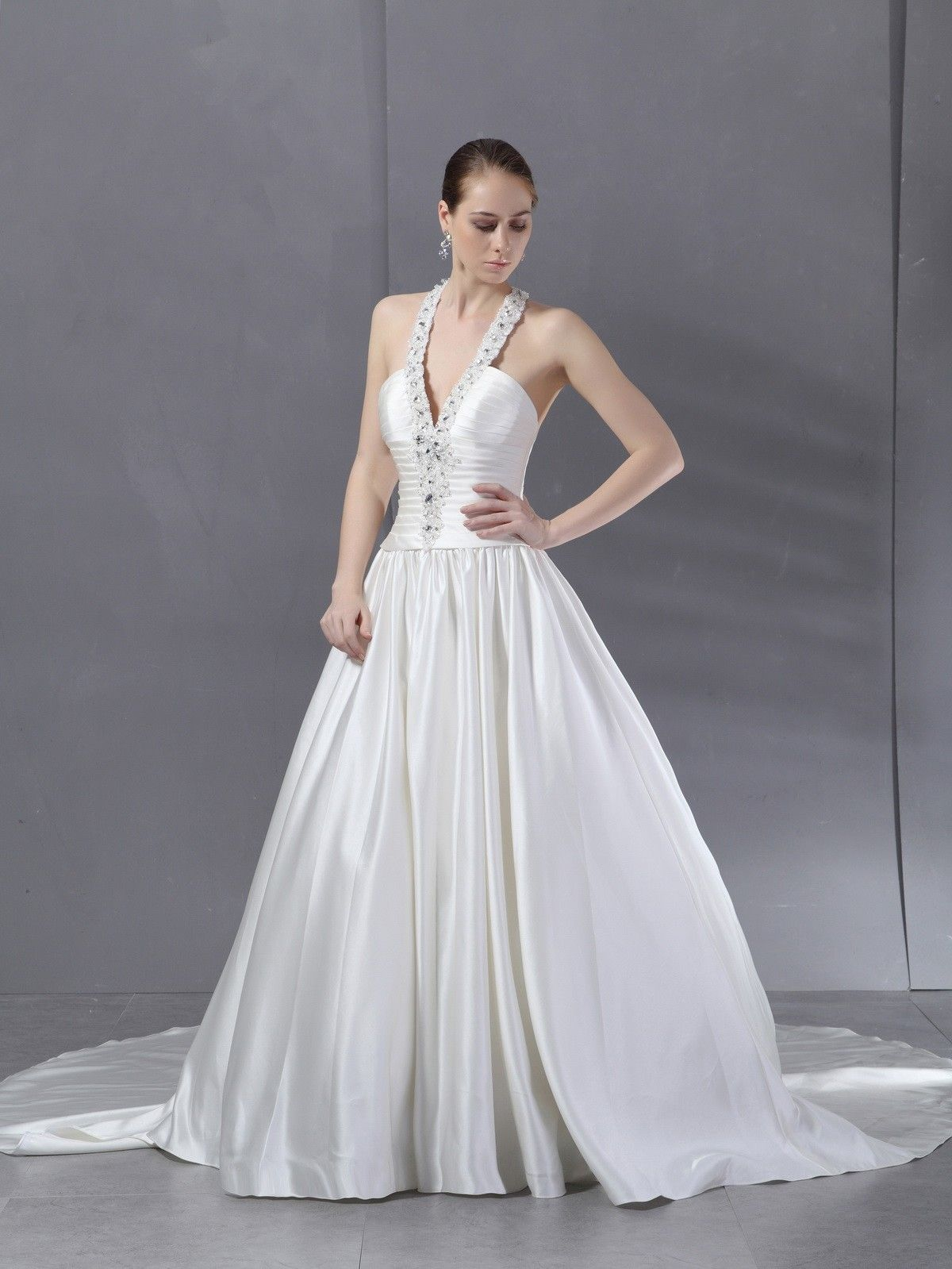 Ball gown chapel train satin wedding dress say yes pinterest