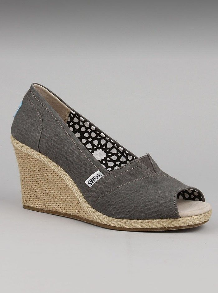 02605e133195 TOMS Ash Calypso Canvas Wedges. Searching for a pretty peep-toe womens wedge  to