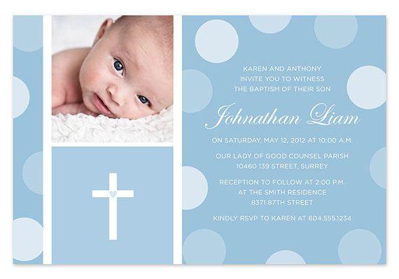 Blue Baby Boy Baptism   Christening Invitation with Photo Marleyu0027s - best of sample invitation of baptism