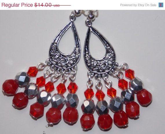 ON SALE Red and Silver Chandelier Earrings by EriniJewel on Etsy ...
