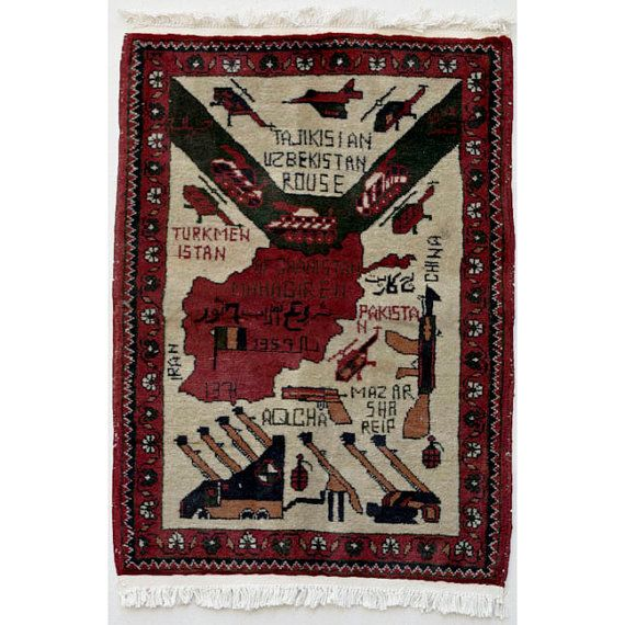 Afghanistan: War Rug, Handwoven Commemorative Weaving