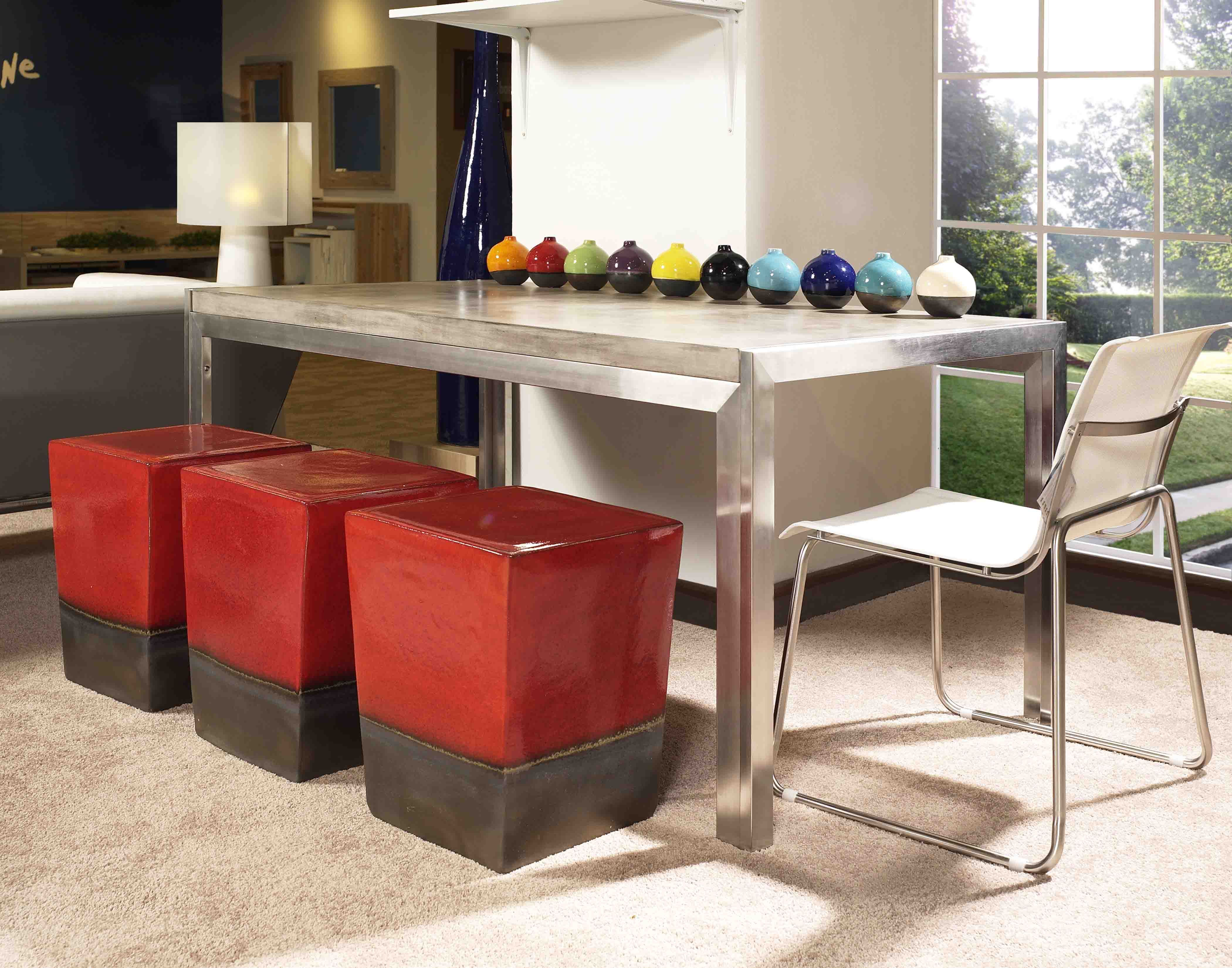 Our Manhattan Table   Brushed Stainless Steel With Ivory Or Slate Lightweight  Concrete Table Top