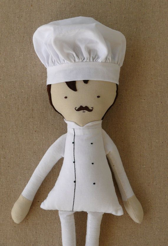 Fabric Doll Cloth Doll Chef Doll with Chef Hat by rovingovine