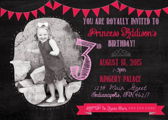 Chalkboard Princess Birthday Digital Invite by SaraKingeryDesign