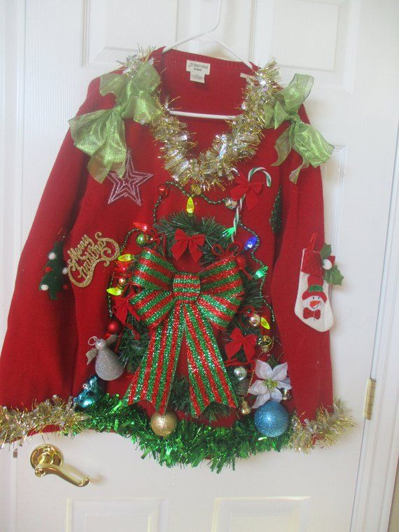 Ugly Christmas Sweater, woman\u0027s PLUS size 2X, novelty, Lights up