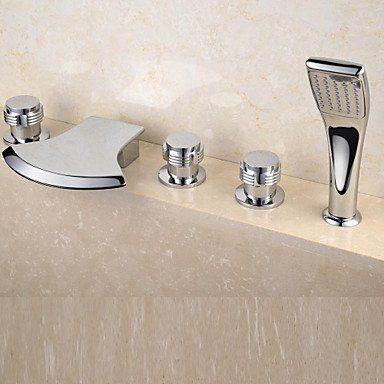 Fini Chrome contemporaine 5 trous cascade salle de bains robinet