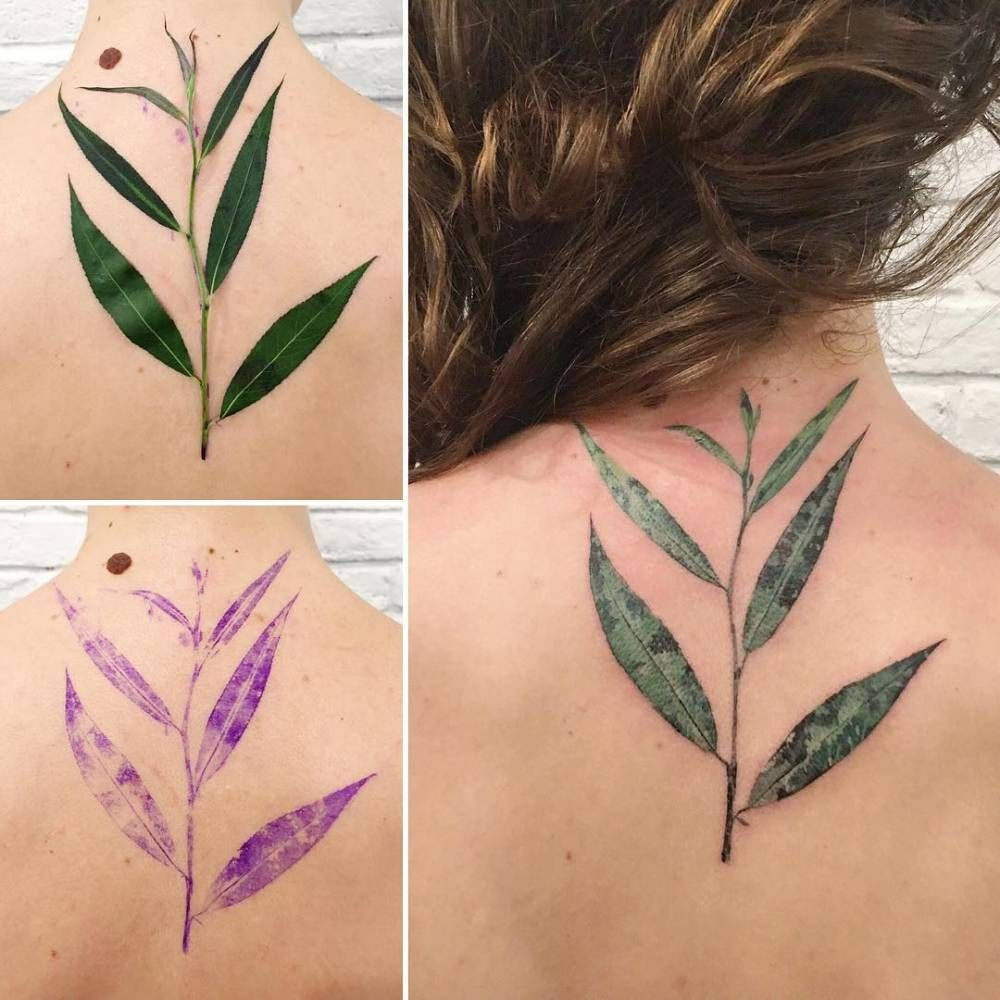 Willow Tree Leaf Using A Real Leaf As A Stencil Tattoos