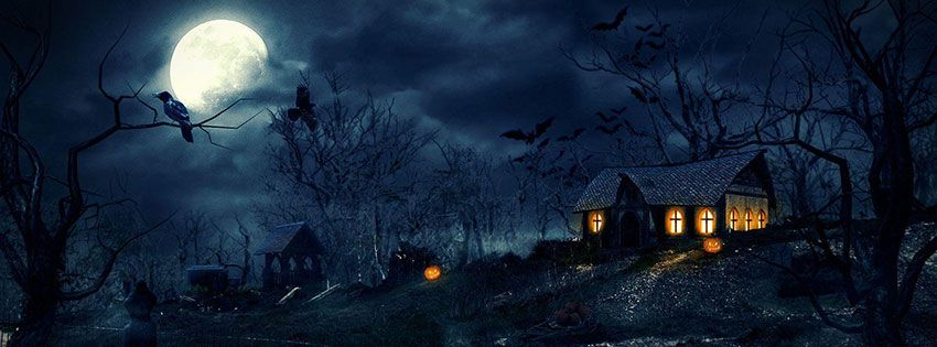 Halloween House Background HD Facebook Covers (850×