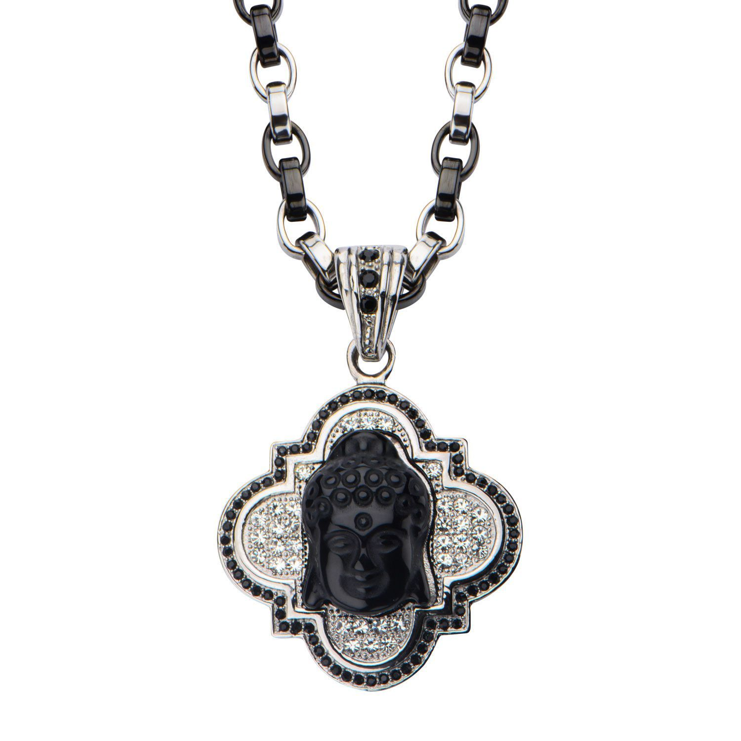 Buddha with black onyx pendant with two tone chain pedants buddha with black onyx pendant with two tone chain aloadofball Image collections