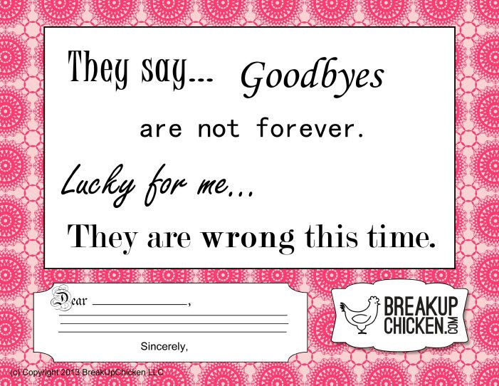 Letter To End Relationship They Say  Goodbyes Are Not Forever