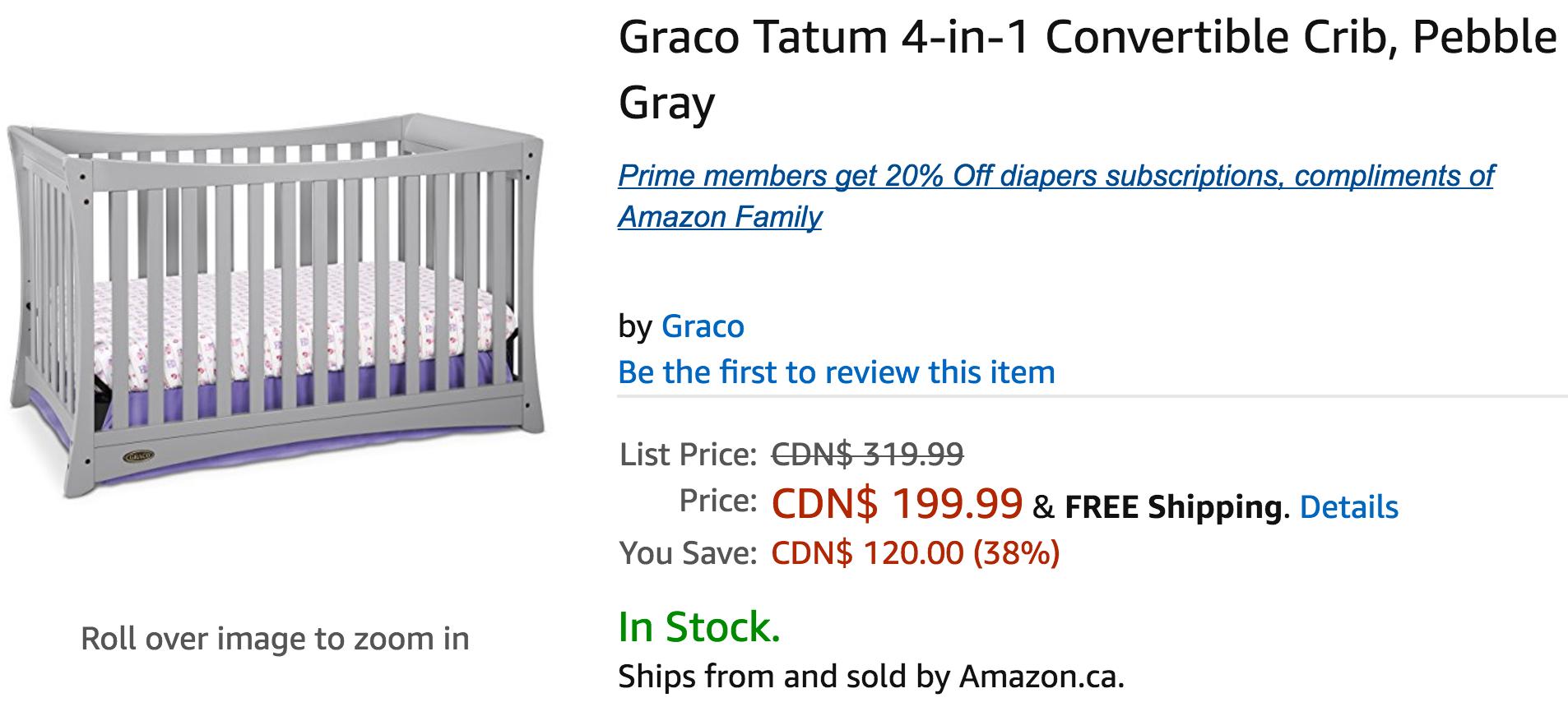 Amazon Canada Deals Save 38 On Graco Tatum 4 In 1 Convertible Crib