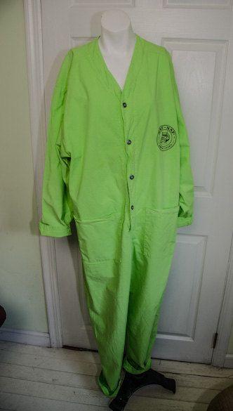 4257cba4a09 Vintage 80s New Wave Neon Green Naf Naf Oversized Jumpsuit
