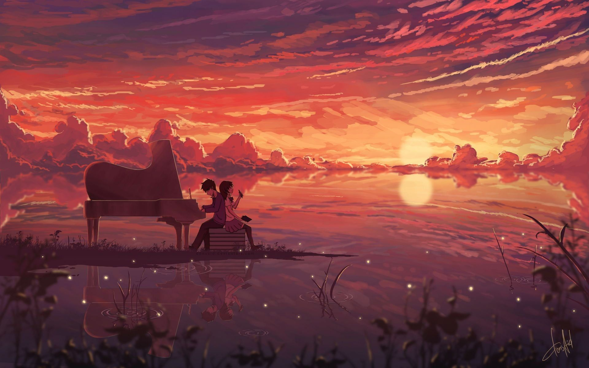Couple Near Classical Piano Anime Digital Wallpaper Anime Manga Artwork Digital Art Illustration Couple Piano Anime Wallpaper Anime Scenery Art Wallpaper