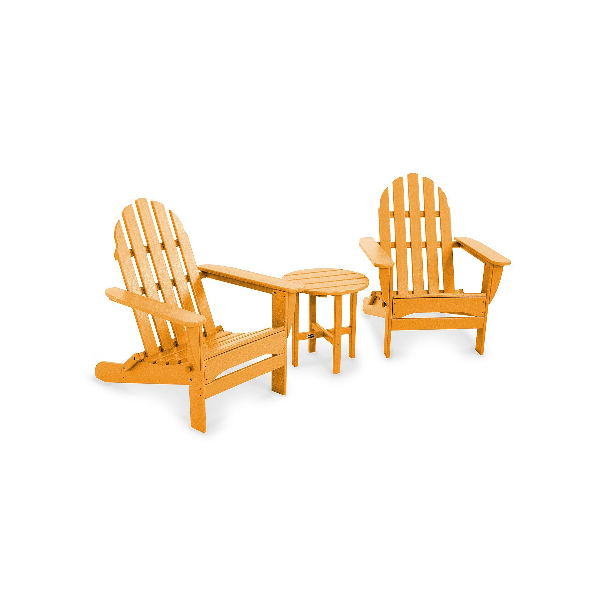 3 pc Classic Folding Adirondack Chair and Table Set Outdoor Orange