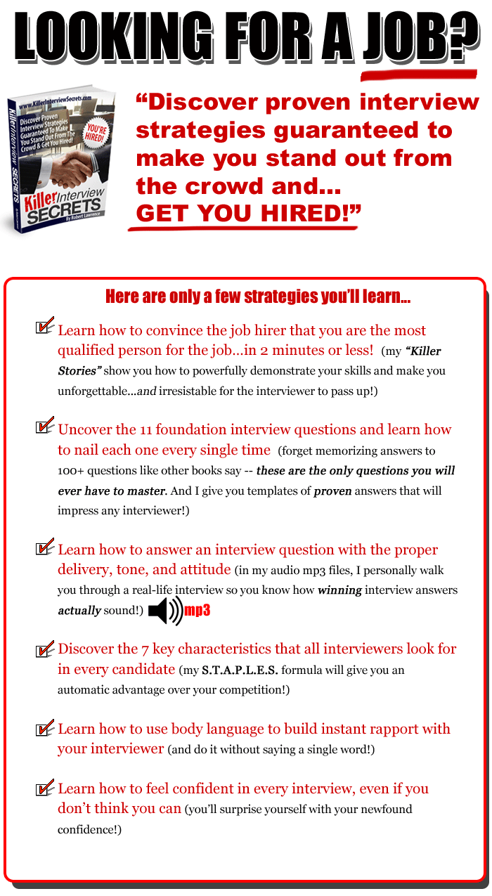 Good Job Interview Questions And Answers | Killer Interview Secrets