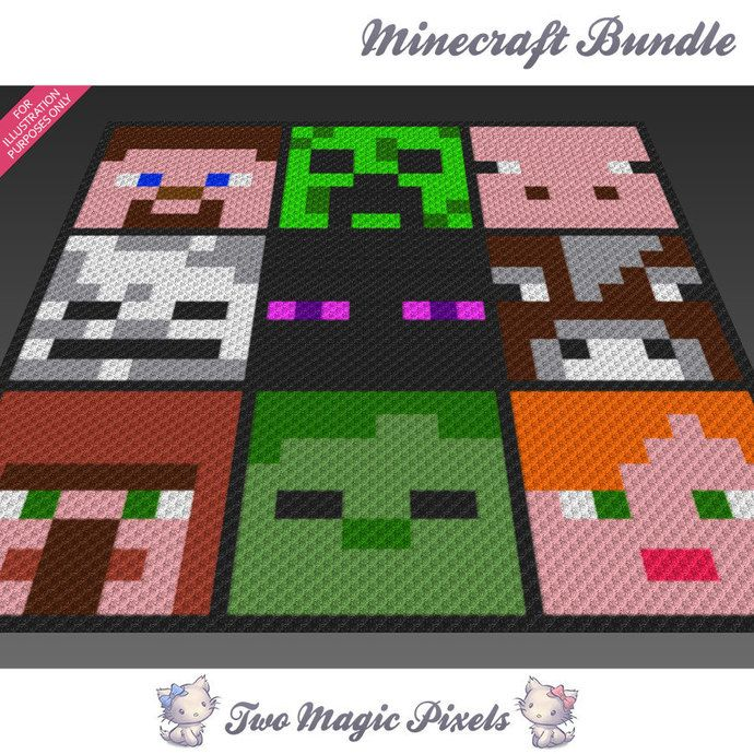 9x Minecraft graph crochet blanket pattern; knitting, cross stitch ...