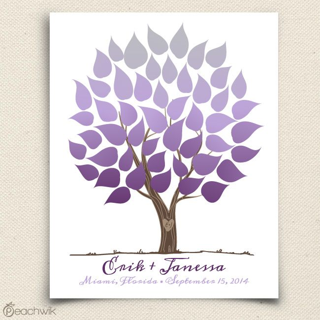 Ombre Wedding Tree | Wedding Guest Book Alternative | Peachwik | Wedding colors: royal purple, lavender, silver, grey