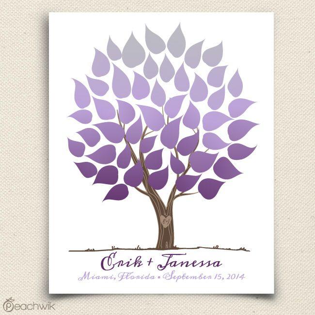 Ombre Wedding Tree | Wedding Guest Book Alternative | Peachwik | Wedding colors: royal purple, lavender, silver, grey