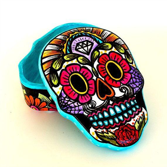 Ceramic Sugar Skull Box Home Decor Day Of The Dead Flowers Hand Painted Dia De Los Muertos Jewelry Holder Sacred Heart Skull Sugar Skull Decor Sugar Skull Art