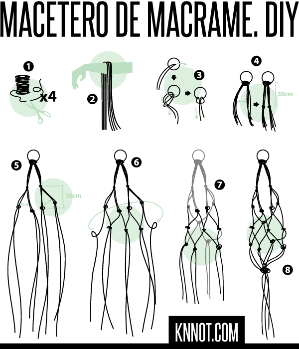 Knnot blog c mo hacer un macetero colgante de macram for Nudos para colgantes