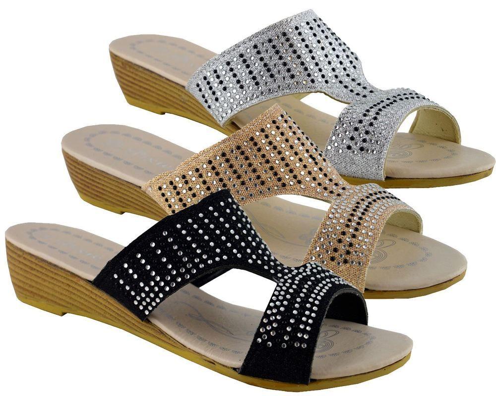 New Womens Flat Slip On Sandals Diamante Peep Toe Mule Comfy Shoes Sizes 3-8