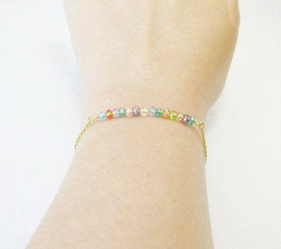 Gold Beaded Bar Bracelet Everyday Bracelet by Foreverafterbeading